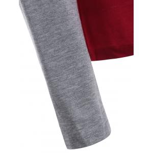 Elbow Patch Funny Print T-Shirt - GRAY AND RED XL