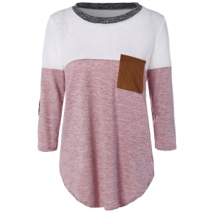 Color Block Elbow Sleeve T-shirt