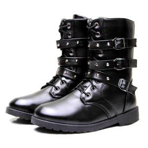Lace Up Buckles Studded Boots -