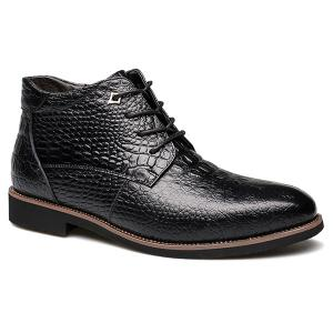 Casual Embossed Lace Up Boots - Black - 43