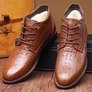 Casual Embossed Lace Up Boots - BROWN 44
