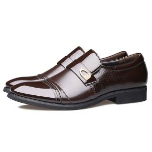 Metal Square Toe Formal Shoes - BROWN 43