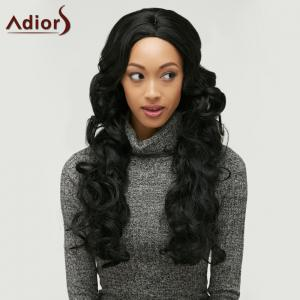 Long Adiors Fluffy Wavy Middle Parting Synthetic Wig - BLACK
