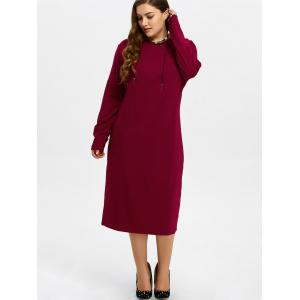Plus Size Midi Shift Dress - WINE RED 6XL