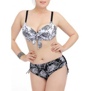 Plus Size Floral Print Underwire Bikini Set - White And Black - Xl