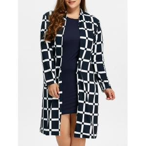 Plus Size Long Grid Coat - Checked - 5xl