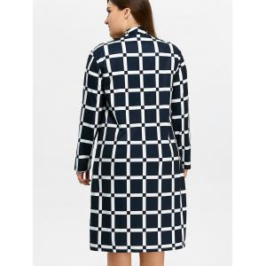 Manteau long à carreaux à grande taille -