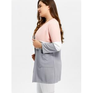 Plus Size Color Block Open Front Knit Cardigan - PINK 6XL