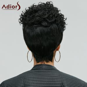 Adiors Short Pixie Cut Curly Side Bang Synthetic Wig - BLACK
