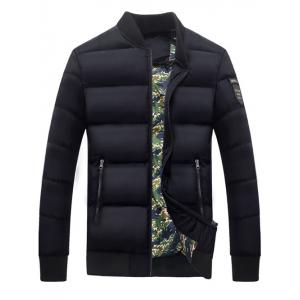 Zip Up Stand Collar Patch Quilted Jacket - Black - M