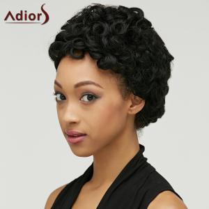 Adiors Short Shaggy Curly Synthetic Wig - BLACK