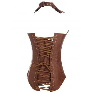 Criss Cross Faux Leather Corsets -