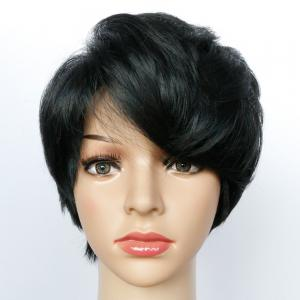 Straight Short Oblique Bang Capless Synthetic Wig -