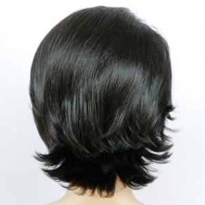 Shaggy Short Wavy Side Parting Synthetic Wig - BLACK