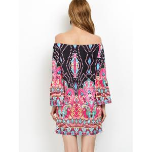 Off The Shoulder Bohemian Print Tunic Dress - PINK 2XL