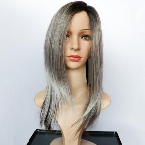 Long Side Parting Natural Straight Color Mixed Synthetic Wig - COLORMIX