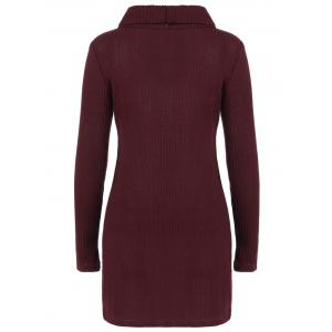 Ribbed Pullover Turtleneck Sweater - WINE RED XL