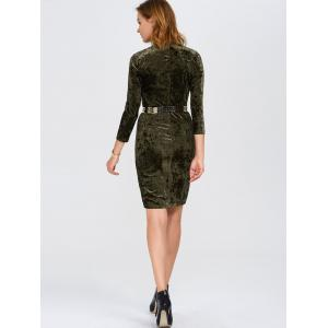 Slim Fit Ruched Velvet Tight Bodycon Dress - OLIVE GREEN 2XL