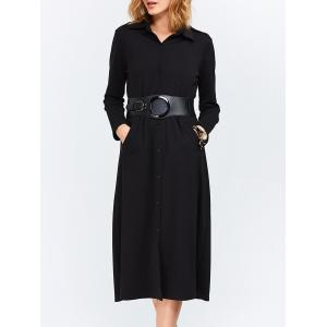 Long Sleeves Longline Button Up Shirt Work Dress - Black - L