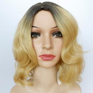 Shaggy Short Wavy Side Parting Color Mixed Synthetic Wig -