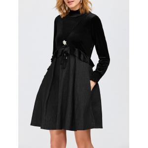 High Neck Ruffled Velvet Panel Swing Dress