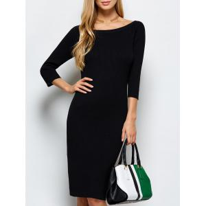 Scoop Neck Kneel Length Ribbed Knit Bodycon Dress - Black - M