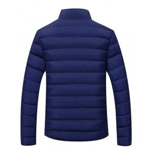 Plus Size Stand Collar Color Block Zipper Down Jacket -