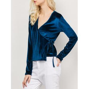 Long Sleeved Velvet Wrap Top - Cadetblue - S