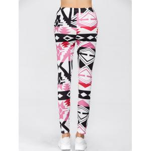 Geometric Print High Waisted Leggings - PINK XL