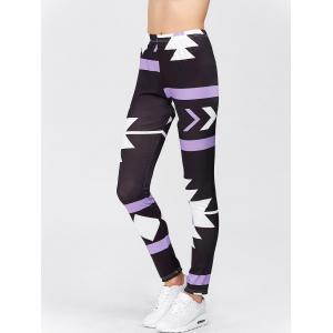 High Waisted Printed Leggings - PURPLE XL
