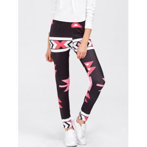 High Waisted Printed Leggings - Red - M