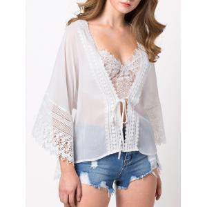 Lace Insert See Through Chiffon Blouse -