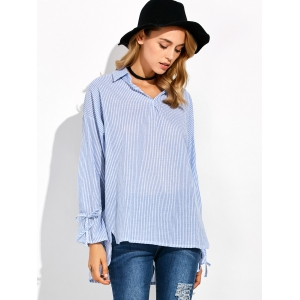 Striped High Low Pullover Shirt - BLUE 5XL