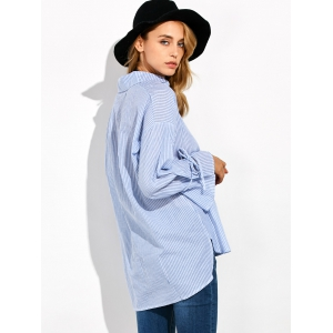 Striped High Low Pullover Shirt - BLUE/WHITE 5XL