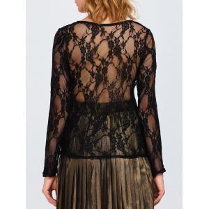 Sheer Long Sleeve Lace Back T-Shirt - Black - Xl