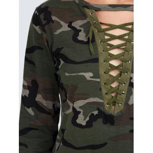 Camo Long Sleeve Lace Up T-Shirt - CAMOUFLAGE COLOR XL