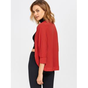 Open Front Dolman Sleeve Knit Short Cardigan - RED 3XL
