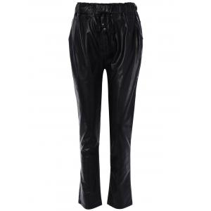Leather Drawstring Bootcut Pants