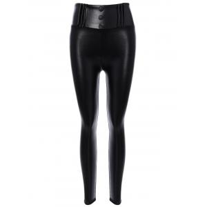 High Waisted Fleece PU leather Leggings - Black - Xl