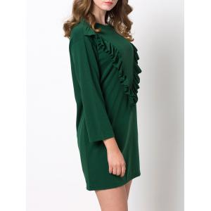 Mini Casual Ruffle Tunic Dress - GREEN 3XL