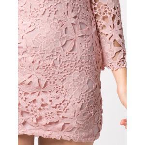 Short Lace Crochet Tight Homecoming Dress -