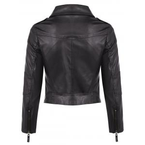 Faux Leather Asymmetric Zip Short Biker Jacket -