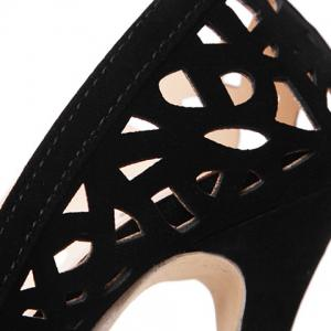 Flock Hollow Out Pointed Toe Pumps - BLACK 40