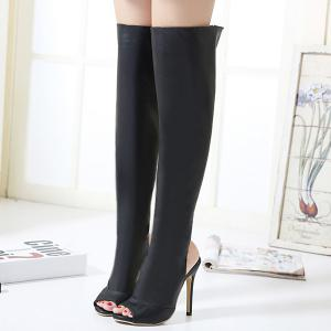 Peep Toe PU Leather Thigh Boots - BLACK 39