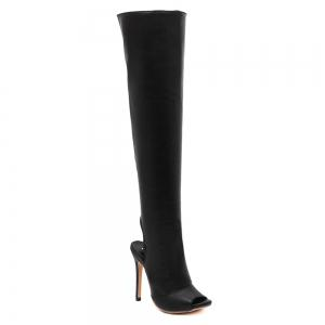Peep Toe PU Leather Thigh Boots