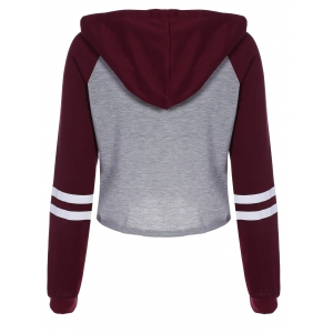 Graphic Print Raglan Sleeves Crop Hoodie - WINE RED XL