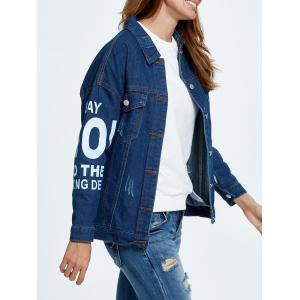 Letter Graphic Button Up Jean Jacket with Sleeves -