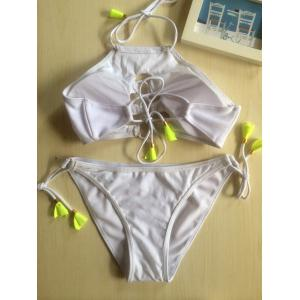Halter Hollow Out Strappy Bikini Set -
