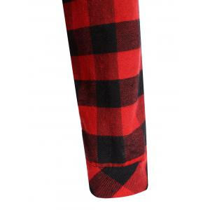 Plus Size Hooded Plaid Blouse - RED 5XL