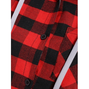 Plus Size Hooded Plaid Blouse -